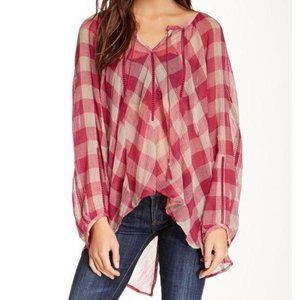 Free People Sheer Red Checkered Western Boho Top